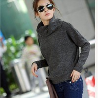 Pretty & Youthful Pure Color Long Sleeve Sweater----Dark-gray