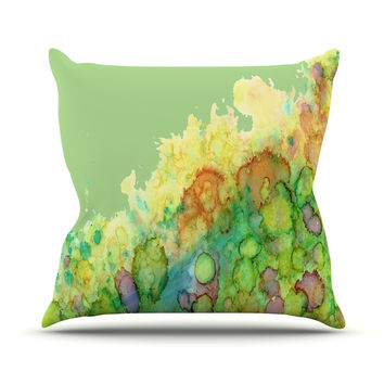 "Rosie Brown ""Sea Life"" Green Yellow Throw Pillow"