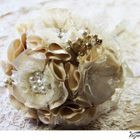 Champagne handmade wedding bouquet, Bridal flowers, bridal bouquet, brooch bouquet made with fabric flowers and rhinestones