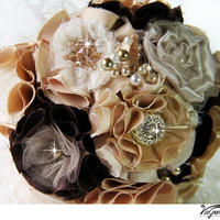 Wedding bouquet, Bridal bouquet, Habdmade flowers, Brooch bouquet, brooches and rhinestones - Chocolate, Honey, Champagne