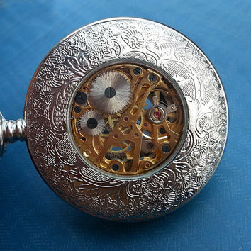 Christmas Gift, Steel Mechanical Pocket Watch