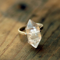 Herkimer Diamond Ring, Sterling Silver Rivet
