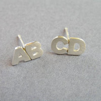 Initial Earrings - Two Letters Silver Stud Earring - Custom Order - Your choice of Letters - Alphabet Jewelry - Personalized jewelry