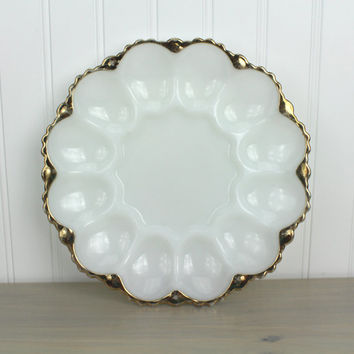 Vintage Milkglass Egg Tray