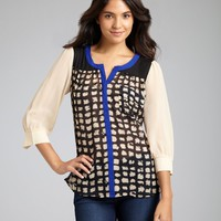 Gemma black and tan printed colorblock silk snap front blouse | BLUEFLY up to 70 off designer brands