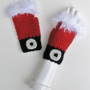 Santa Claus Wristwarmers, Fingerless Texting Gloves, Furry White Trim, Festive Holiday Accessory, Ready to Ship