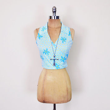 Vintage 90s Blue Daisy Print Top Floral Print Crop Top Tank Top Wrap Blouse Shirt 90s Top 90s Grunge Top 90s Club Kid Top 70s Hippie Top S M