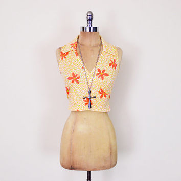 Vintage 90s Orange Daisy Print Top Floral Print Crop Top Tank Top Wrap Blouse Shirt 90s Top 90s Grunge Top Club Kid Top 70s Hippie Top S M
