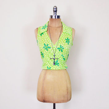 Vintage 90s Green Daisy Print Top Floral Print Crop Top Tank Top Wrap Blouse Shirt 90s Top 90s Grunge Top Club Kid Top 70s Hippie Top  M L