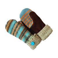 Wool Sweater Mittens Recycled Women's Turquoise Brown Orange Tan WARM Handmade in Wisconsin Fleece Lined Gift Upcycled Stripes Fair Isle