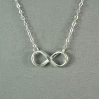 Petite INFINITY Necklace, Fine Silver Charm, Sterling Silver Chain, Modern, Simple, Pretty, Lovely Necklace