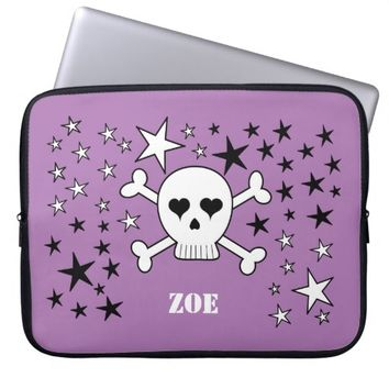 Personalizeable Purple Sweet Skull and Crossbones