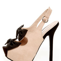 Diva Lounge Felina 22 Black and Blush Bow Time Slingback Heels - $33.00