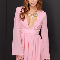 I Want It Now Blush Pink Long Sleeve Dress