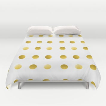 Gold Spots Duvet Cover by Ashley Hillman