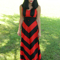 Vintage 80s red and black chevron open back maxi dress