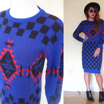 Vintage 80's blue black red check sweater dress bodycon midi abstract graphic native tribal ethnic jumper pullover