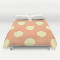 Vintage Cream and Salmon Polka Dots Duvet Cover by Kat Mun