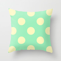 Vintage Cream and Mint Polka Dots Throw Pillow by Kat Mun