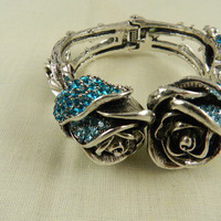 Chunky Rose Bracelet Silver Ornate Blue  Intricate Rhinestone  from Eves Home Decor and Jewelry