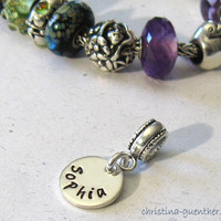 Custom Personalized European Bracelet Name Charm - Fits Most Popular European Bracelets - Handmade Hand Stamped Silver