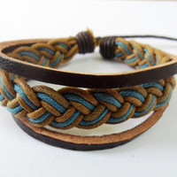 Multicolour Cotton Rope Woven Bracelets Adjustable Leather Bracelet  1159S