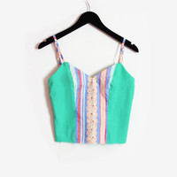 Handmade Camisole Bustier in Green and Floral Striped Top, XS