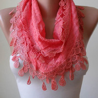 New - Coral Cotton Scarf with Trim Edge