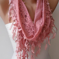 Rose Pink Lace Scarf with Trim Edge