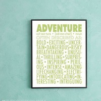 Spirit of Adventure  typographic print by TypePosters on Etsy