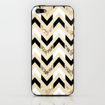 Black, White & Gold Glitter Herringbone Chevron on Nude Cream iPhone & iPod Skin by Tangerine-Tane