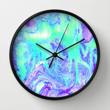 Melting Marble in Mint & Purple Wall Clock by Tangerine-Tane