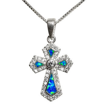 Opal & Zircons Cross pendant