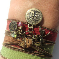 Tree of Life Dragonfly Silk Wrap Bracelet Yoga Jewelry Om Namaste Bohemian Jewelry Autumn Fall Earthy Unique Gift Under 50 Item Z34