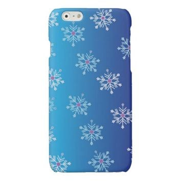Blue Winter Falling Snowflakes Abstract Art Pattern iphone 6 Case- Blue iphone 6 cases, cute holiday iphone 6 cases; snowflake pattern cases