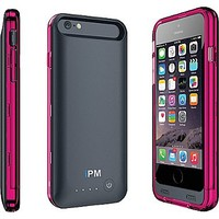 iPM iPhone 6 3100mAh MFI Power Charger Case, Pink and Clear