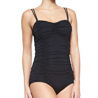 Women's Ruched Double-Strap One-Piece Swimsuit - Michael Kors - Black