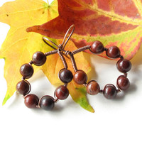 Fall earrings - hoops beaded with brick red gemstone beads & copper wire wrapped