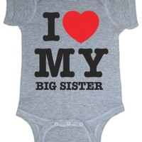 So Relative! I Love My Big Sister (Red Heart) Heather Grey Baby Infant Short Sleeve Bodysuit...