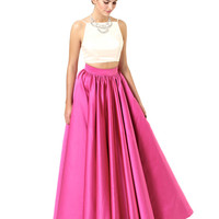 This product has no description Ivory and Hot Pink Kat - Formal Dresses | Bridesmaid Dresses | Prom Dresses | Evening Gowns - Fame & Partners