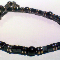 Unisex Tribal Black Pearl & Hematite Necklace
