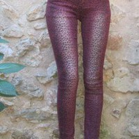 Purple Leopard Print Stretch Skinny Jean