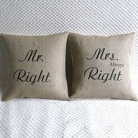 Set Of Two 'Mr & Mrs Right' Cushion Covers