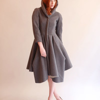 Wool Coat with Architecturally Draped Skirt - Size 2/4