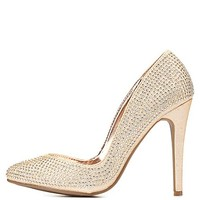 Rhinestone-Studded Pointed Toe Pumps by Charlotte Russe - Nude