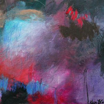 """Small Abstract Acrylic Painting Original Intuitive Artwork """"A Small Heart Knowing"""""""