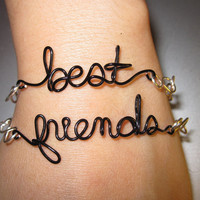 Best Friends Bracelets Silver Plated and Black Copper Wire Set of Two Unique  - Other