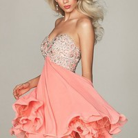 Knee Length Sweetheart 2012 Evening Dress (Aed0047) With Beads