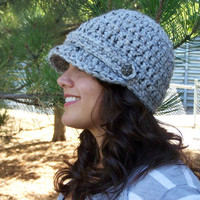 Womens Hat, Crochet Newsboy Hat- Heather Grey