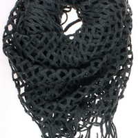 """Dry77 Knitted Fishnet Chain Loop Eternity Infinity Scarf, Black, 27"""" x 50"""""""